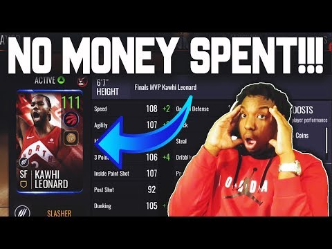 HE GOT 110 KAWHI LEONARD NO MONEY SPENT!!! NBA LIVE MOBILE 19 GAMEPLAY