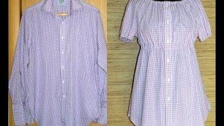 Стильная идея переделки рубашки в блузку Как сшить из рубашки стильную блузку Стильная блузка из рубашки своими руками