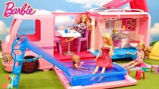 バービー キャンピングカー プール遊び / Barbie Pop-Up Dream Camper Swimming Pool and Water Slide