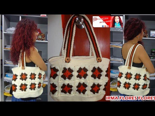 Cartera o bolso grande en cuadros tejida a crochet paso a - Cuadros abstractos paso a paso ...