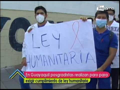 En Guayaquil posgradistas realizan paro para exigir cumplimiento de ley humanitaria
