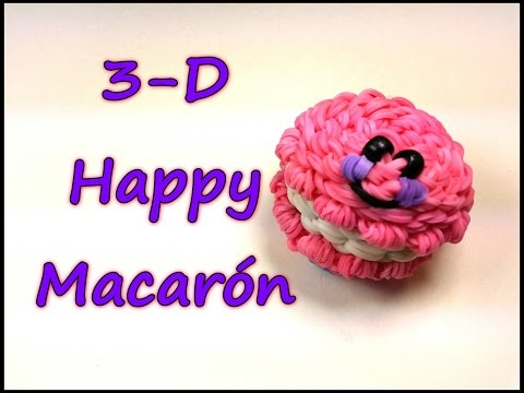 3-D Happy Macaron Tutorial by feelinspiffy (Rainbow Loom)
