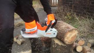 10. Stihl MSA120C battery chainsaw tested to limit