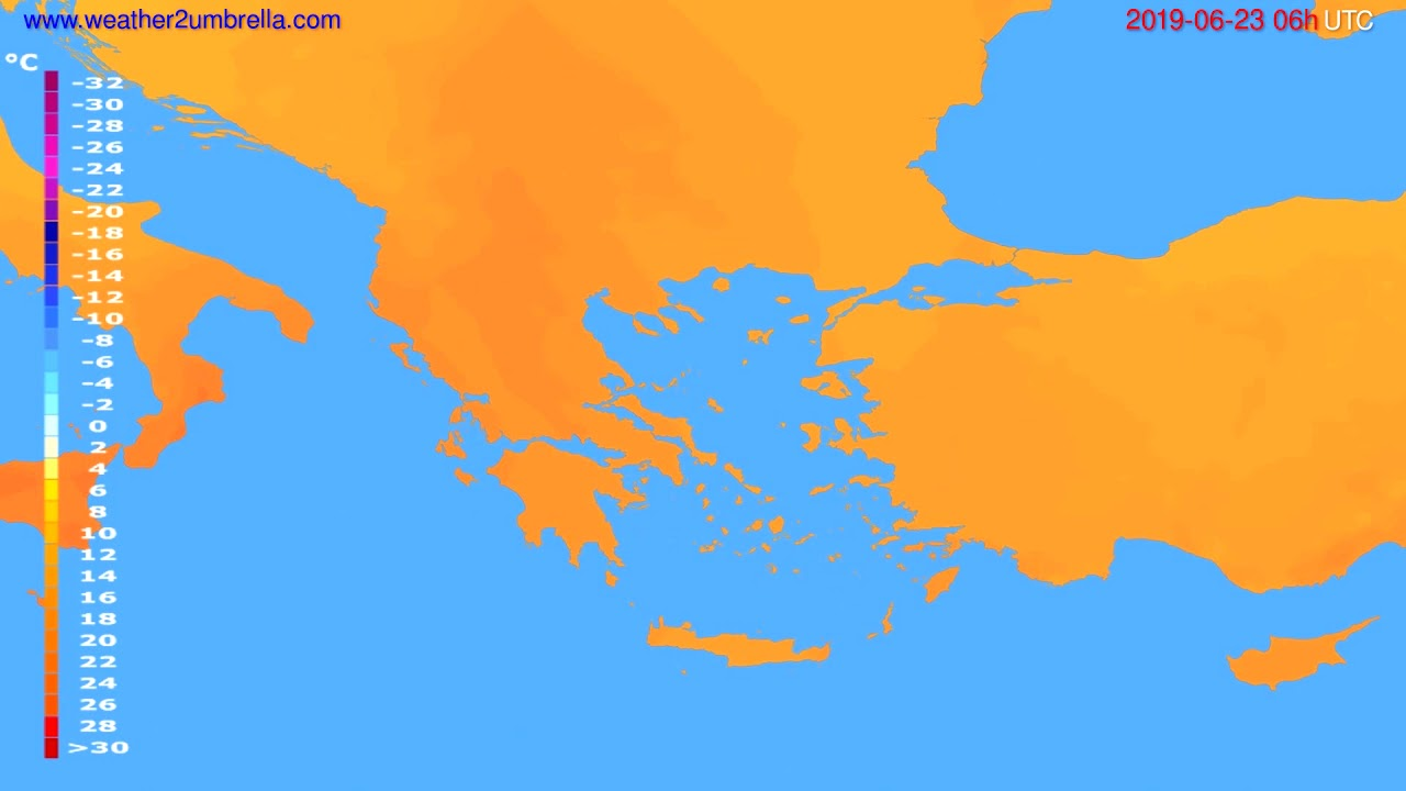 Temperature forecast Greece // modelrun: 12h UTC 2019-06-20