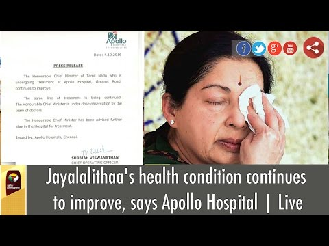 Jayalalithaas-health-condition-continues-to-improve-says-Apollo-Hospital--Detailed-report