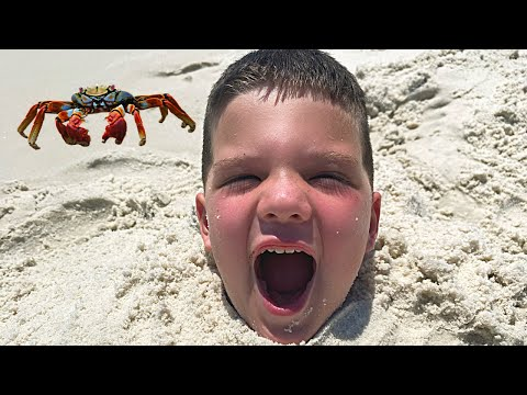 BURIED IN THE SAND! Caleb & Daddy Build Sand Castles at Beach Play in the Water! Caleb Pretend Play
