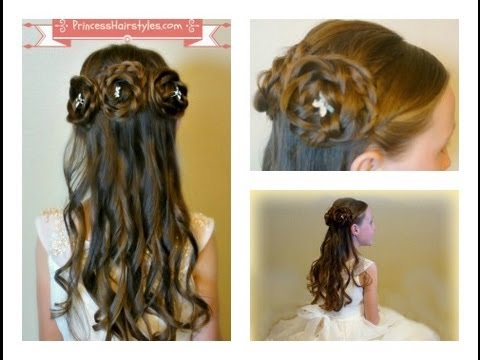 Half Up Rosette Buns, Flower Girl Hairstyles