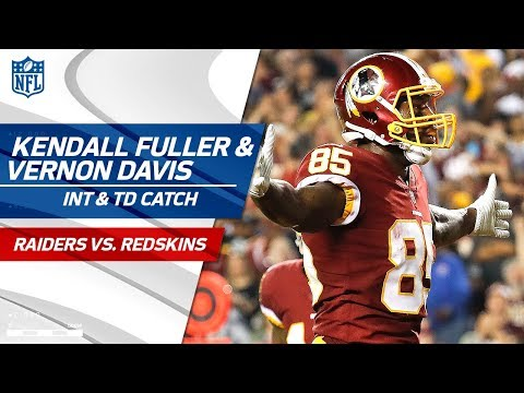 Video: Kendall Fuller's Falling INT & Vernon Davis' TD in the Red Zone! | Raiders vs. Redskins | NFL Wk 3