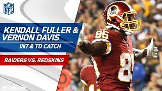 Kendall Fuller's Falling INT & Vernon Davis' TD in the Red Zone! | Raiders vs. Redskins | NFL Wk 3 by NFL