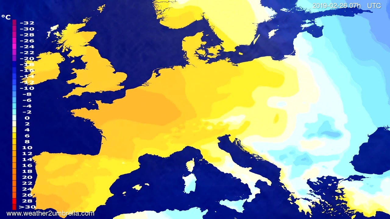 #Weather_Forecast// Temperature forecast Europe 2019-02-24