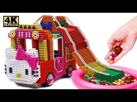 DIY How To Make Hello Kitty Bus With Inflatable Ball Pit Pool From Magnetic Balls   Magnet World 4K