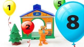 Бадди считает воздушные шарики. Учим цвета и цифры с динозавром Бадди из Поезда Динозавров.