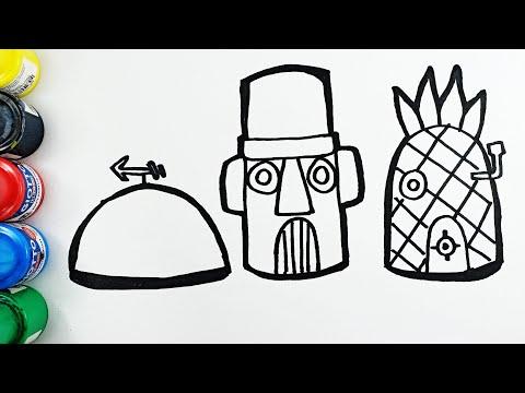 Cara Menggambar dan Mewarnai Rumah Nanas Spongebob, Squidward dan Patrick Lucu Sekali