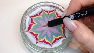 How To Produce Water Marbling Nail Art With Nail Polish (CND VINYLUX)