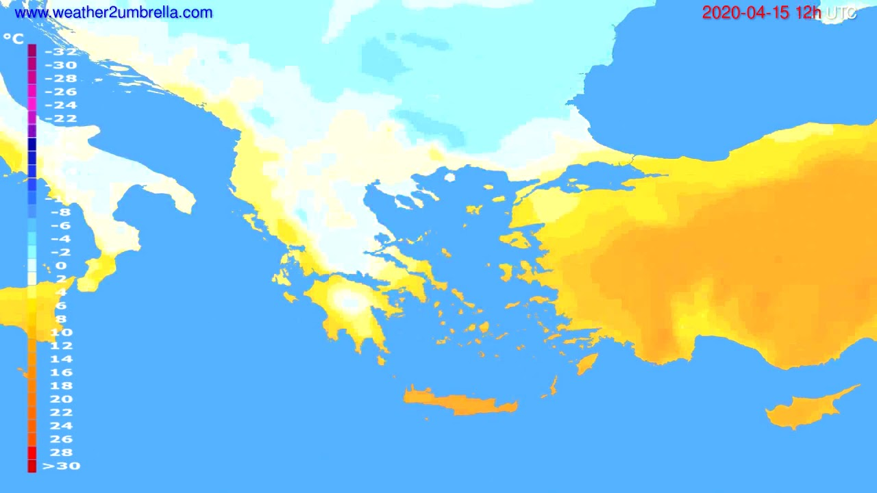 Temperature forecast Greece // modelrun: 00h UTC 2020-04-15