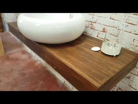 Mensola da bagno in legno lamellare di larice effetto rustico - XLAB