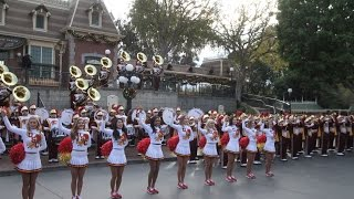 Disneyland: Spirit of Troy, the USC Trojan Marching Band Rose Bowl Pep Rally in Town Square (clips)