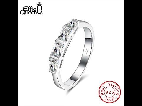 Effie queen 4 большое квадратное хрустальное кольцо из 100% серебра 925 … видео