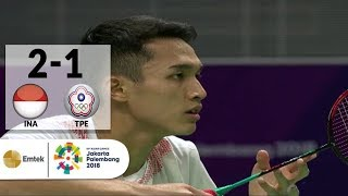 INA v TPE - Final Badminton Tunggal Putra: Jonatan Christie v Chou Tienchen | Asian Games 2018
