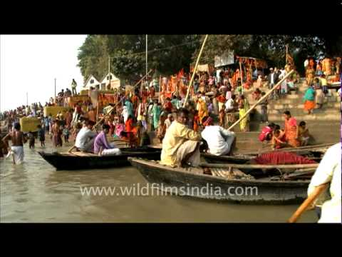 bathing in ganga - A kaleidoscope of human activity along the banks of one of the largest and most important rivers in the world - the Ganga or the Ganges! as you float down th...