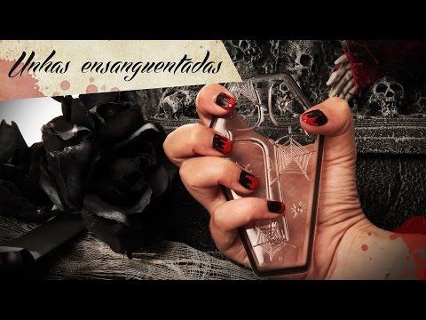 Nail art unhas de vampiro ensangrentado