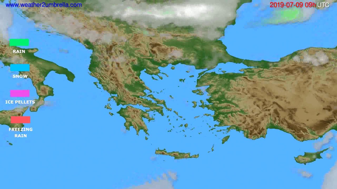 Precipitation forecast Greece // modelrun: 12h UTC 2019-07-07