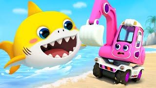 Video Excavator and Baby Shark | Fire Truck, Tractor, Police Cars | Cars for Kids | Kids Songs | BabyBus MP3, 3GP, MP4, WEBM, AVI, FLV Juli 2019