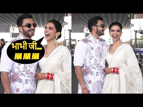 Adorable Couple Ranveer & Deepika Flying For Their Bangalore Reception