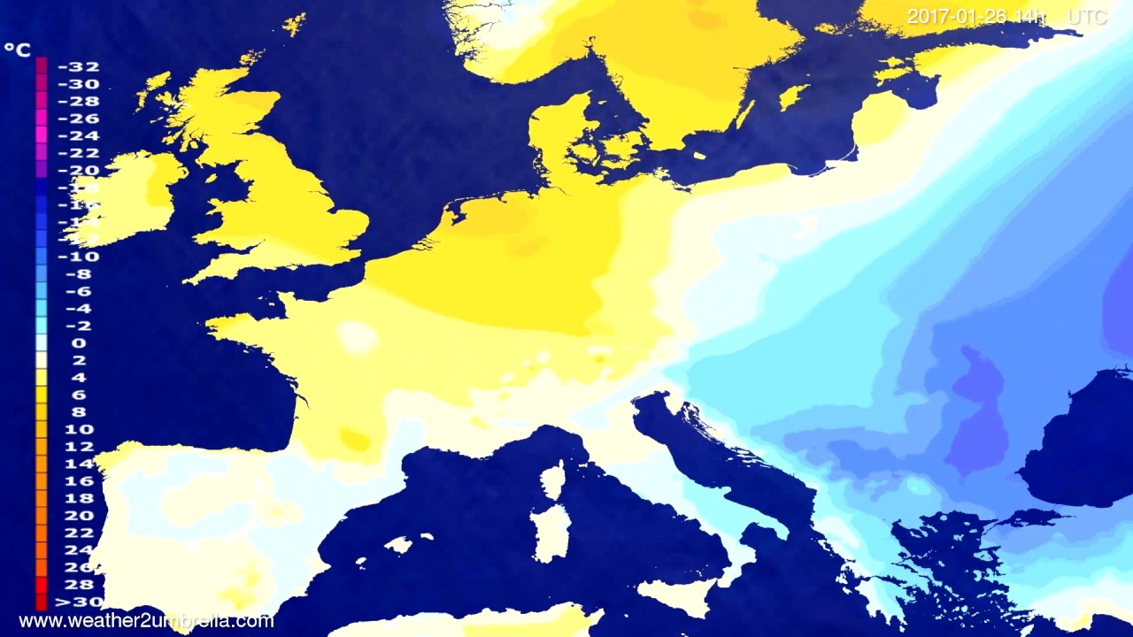 Temperature forecast Europe 2017-01-22