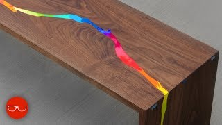 Epoxy Resin Waterfall River Table - Just Kidding It's Crayons :)