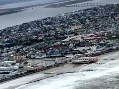 Aerial view of Hurricane Sandy aftermath in Southern NJ
