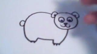 Видео: как просто нарисовать медвежонка ребенку