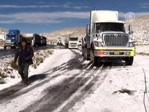 На Перу обрушились снегопады (новости) (видео)