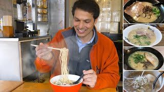 """Fukuoka is the capitol of TONKOTSU RAMEN and man, do they make it good! Tonkotsu -- made from pork bone based soup -- is the ramen of choice here and this time, we'll go on a ramen eating binge from the famous Yatai in Nakasu and Ramen Stadium to the cheapest ramen in the city in Tenjin! We'll also get an inside look at RAMEN UNARI's special GYOKAI TONKOTSU RAMEN which is lighter bodied than the usual tonkotsu served in the city -- and absolutely amazing!Here are the ramen shops I visited in the episode: 1) Nakasu Yatai Stands Google Maps: https://goo.gl/maps/KRe9wuy9Kd922) Ramen Unari / ラーメン海鳴 URL: http://ramen-unari.com/nakasu/Google Maps: https://goo.gl/maps/KRe9wuy9Kd923) Hakata Ramen ZenGoogle Maps: https://goo.gl/maps/sy1yosDknTA24) Ramen Stadium / Shodai Hidechan Ramen Google Maps: https://goo.gl/maps/hKSwsJRX7g62URL: https://canalcity.co.jp/ra_sta/There are too many ramen shops in Fukuoka to count! I reviewed the ones that were recommended to me by locals plus the yatai which are famous in Japan. Don't limit yourself to these places but I have to say, I loved Ramen Unari! MORE RAMEN? Check out the Sapporo Ramen Alley Adventure: https://www.youtube.com/watch?v=3MTKUjXUDpIHow about RAMEN CAKE in Akihabara? https://www.youtube.com/watch?v=OvpPkdfz6F4 Note on the criticism of the yatai area along the river: I spent two nights at the Nakasu Yatai Ramen Stands and only 1 in 10 visitors were from Fukuoka. Most were Japanese tourists or from abroad. I went to two yatai and the service was not good each time. At the last one where I filmed, the staff told me """"You can eat here if you won't stay long."""" I never had any intention to stay long but I got the feeling they don't have much respect for customers because almost none of them are repeaters, regular customers. I cannot recommend this area, but I hope you have a better experience than me. Try ordering something different than ramen at the yatai. ONLY in JAPAN on Instagram:http://instagram.com/onlyinjapantvThis show"""
