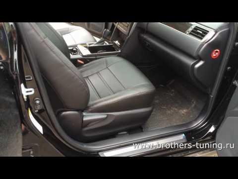 """Чехлы на Toyota Camry 50, серии """"Premium"""" - коричневая строчка"""