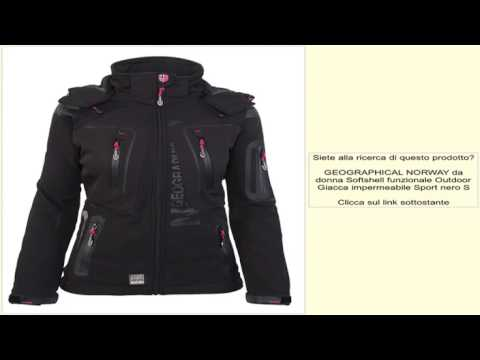 GEOGRAPHICAL NORWAY da donna Softshell funzionale Outdoor Giacca impermeabile Sport nero S