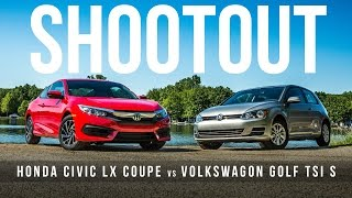 Shootout: Honda Civic LX Coupe vs. Volkswagen Golf TSI S 2-door for affordable sporty compact sup… by Roadshow