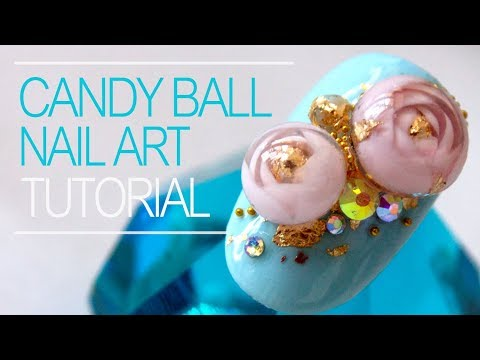 Gel nails - Candy Ball Winter Design 2018  Gel Nail Bubble Rose Tutorial Step by Step
