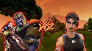 Fortnite Gameplay default skin beats Thanos