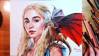 Drawing Daenerys Targaryen(Emilia Clarke) using colored pencil - Colored pencil(Prismacolor) / Bristol 300S ○ Materials - [Paper] Strathmore Bristol 300S, ...