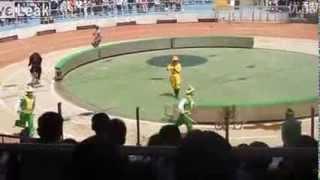 Un ours mange un singe pendant un numéro de cirque