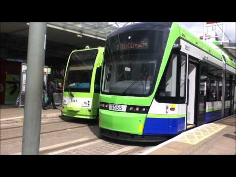 tram - Video of one of Tramlink Stadler Rail Variobahn Trams (2555) at East Croydon Tram Stop before departing on a passenger test run on Route 3 to Therapia Lane a...