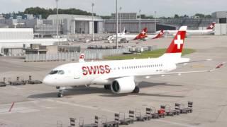 CS100 HB-JBA Take Off and Parking - SWISS GLOBAL AIR LINES.