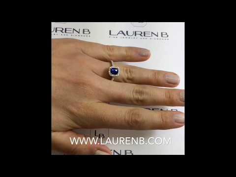 1.40 ct Cushion Cut Sapphire Halo Engagement Ring