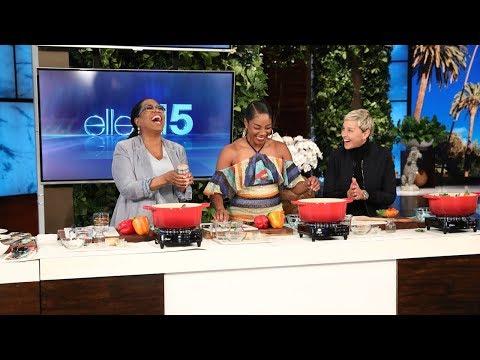 Tiffany Haddish Teaches Oprah How to Make Joyful Greens (видео)