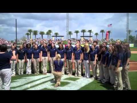 High School Choir Sings National Anthem at Tigers Spring Training Game