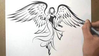 Video How to Draw an Angel - Tribal Tattoo Design Style MP3, 3GP, MP4, WEBM, AVI, FLV Juni 2018