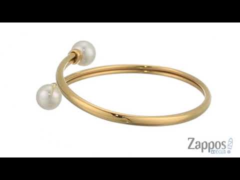Majorica Galatea 9mm White Round Pearls On Gold Plated Steel Bangle SKU: 9177635
