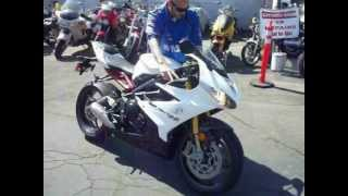 8. 2013 Triumph Daytona 675R - Crystal White / Phantom Black For Sale Walkaround