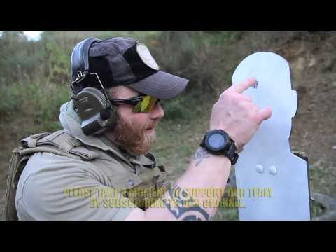 Pistol drawn, perfect head shot scored at 25 meters. .in less than 1 second.